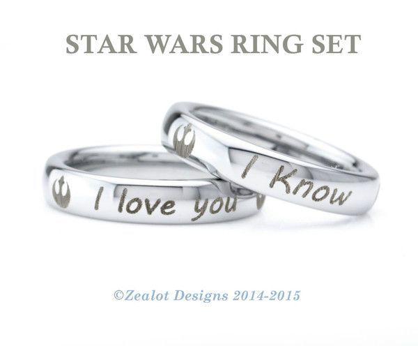 star wars inspired ring set tungsten wedding band ring - Tungsten Wedding Ring Sets
