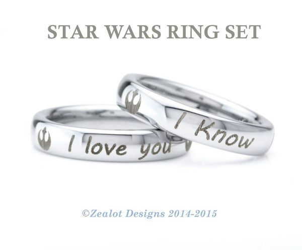 Star Wars Inspired Ring Set Tungsten Wedding Band Ring Star Wars Jewelry Fashionable Star Wars Jewelry Star Wars Ring Star Wars Jewelry Wedding Ring Bands