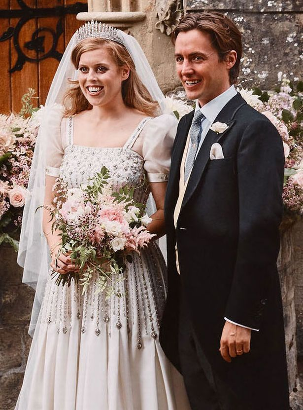 Queen wore Princess Beatrice's wedding gown to film