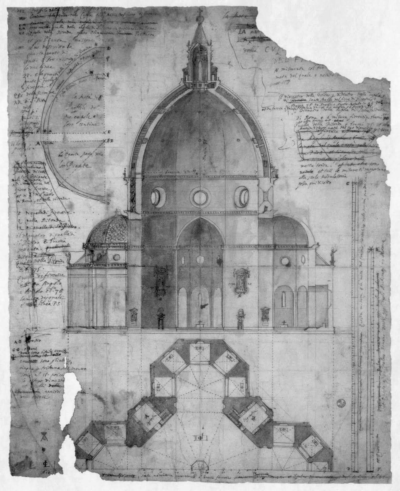 Cigoli's (1559-1613) drawing of Brunelleschi's double shell design ...