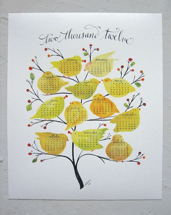 GORGEOUS 2012 wall calendar art print calligraphed by lillastudio on ...