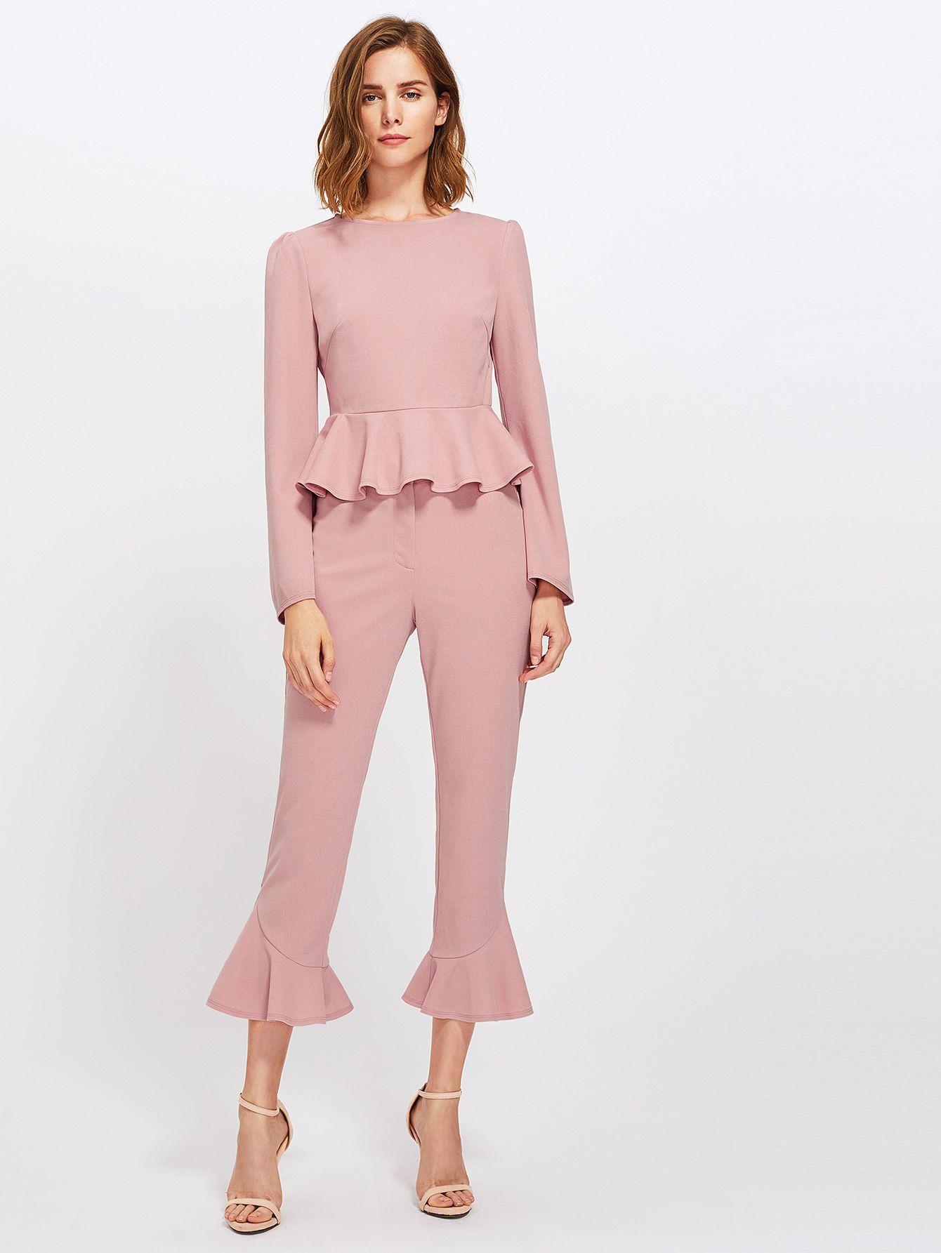 Bell Sleeve Peplum Top And Tailored Ruffle Hem Pants Set   Pinterest ...