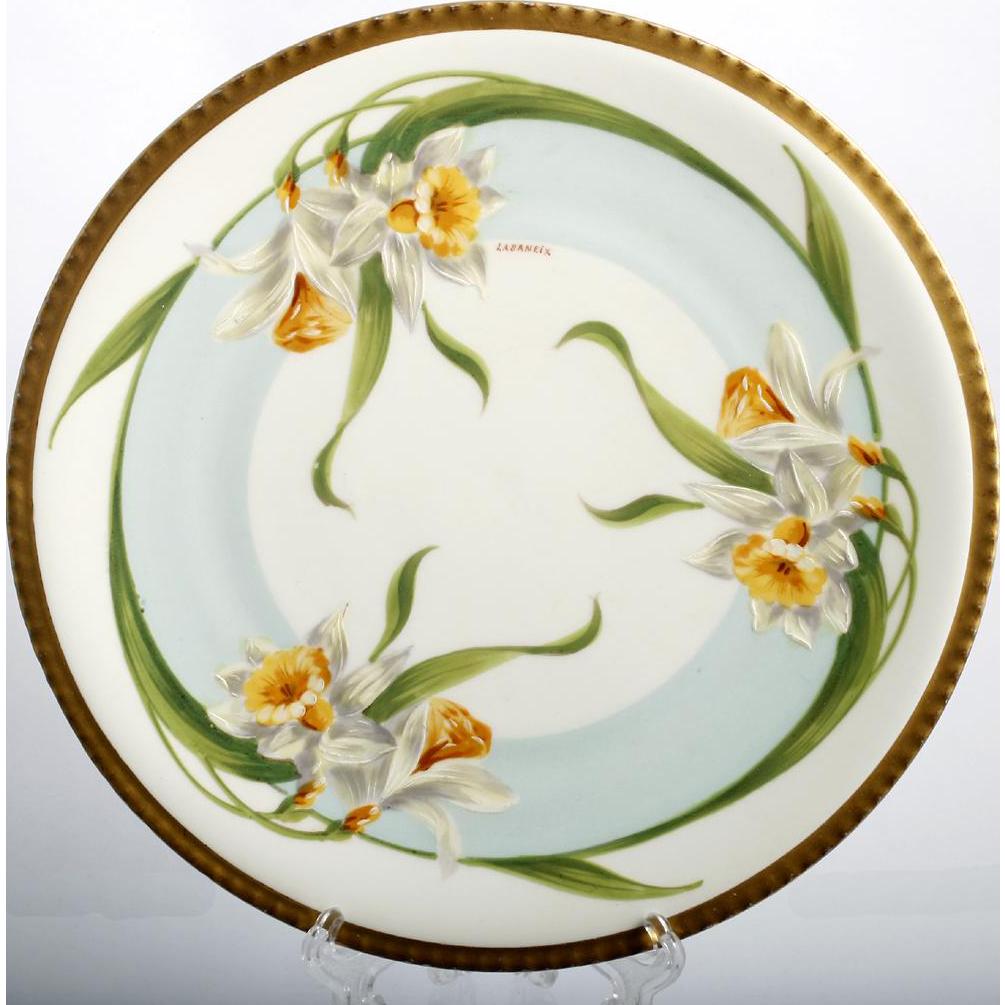 Limoges Porcelain Daffodil Plate Hand Painted Vintage Pottery Signed Labaneix Keramika Farfor Posuda