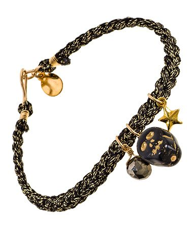 Chibi Black Skull Stud Charm and Pyrite Charm Bracelet  ~    Price: $68.00~ Michaels has skull charms