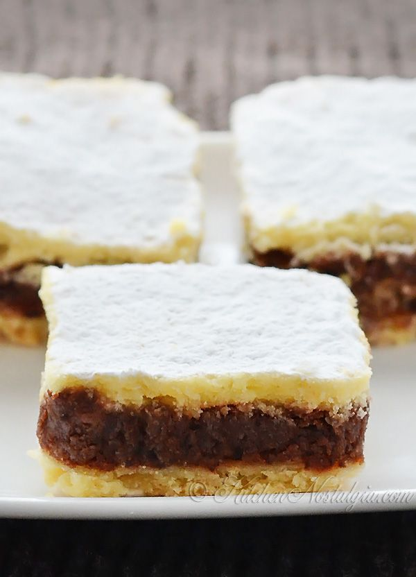 Chocolate Pie Bars - Chocolate Pie Bars - tender and crumbly crust , chocolatey and fudgey filling; can't stop eating them - kitchennostalgia.com