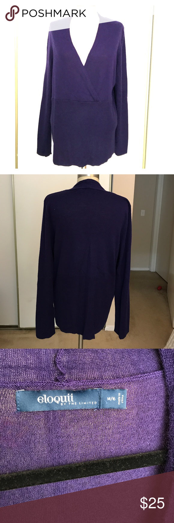 The Limited purple wrap sweater size 14/16 | Deep purple color ...