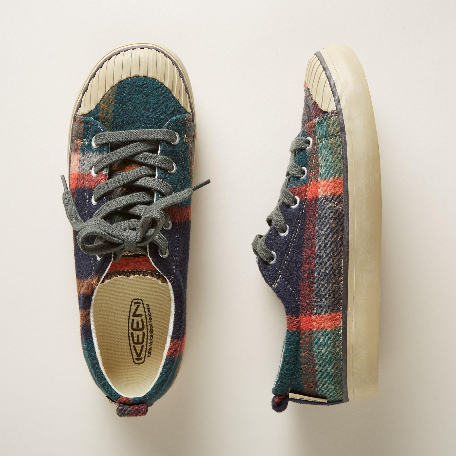 9237edd799f ELSA SNEAKERS -- These cozy, flannel wool sneakers by Keen® conjure  memories of hot cider and piney forests in a cute, cap-toe style with  rubber soles.
