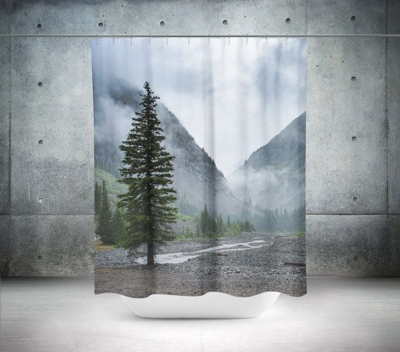 Pine Tree Shower Curtain Nature Decor Misty Mountains Colorado Bathroom Scenic Curt