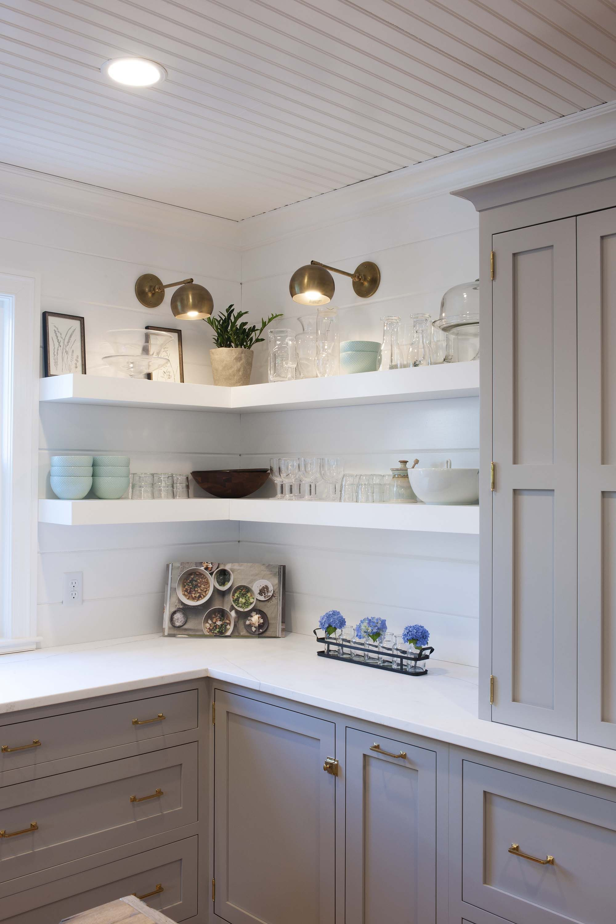 106 12 What S Here Wood Maple Paint Color Truly Taupe Pure White Corner Shelves Door Diy Kitchen Shelves Open Kitchen Shelves Kitchen Cabinet Design