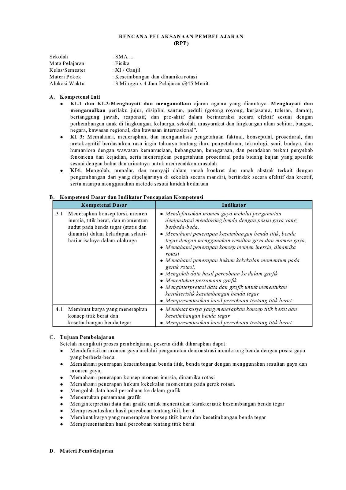 Rpp Fisika Kelas 11 Kurikulum 2013 Revisi Terbaru