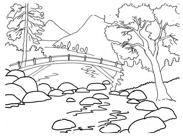 beautiful river bank landscape nature coloring crazy coloring - Simple Nature Drawing For Kids