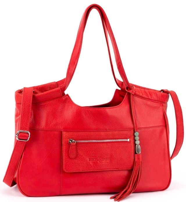 """Project Nursery Gift Guide for Mom: Caroline Diaper Bag in Red by @lilyjadeco - This beautiful and chic piece disguises itself as a fashion-forward bag but meets all the needs of a functional diaper bag. The """"Baby Bag"""" comes with a removable, washable organizational insert giving it the ability to follow mom through all her stages of motherhood."""