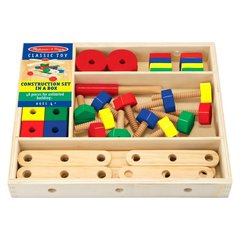 melissa & doug® wooden construction building set in a box