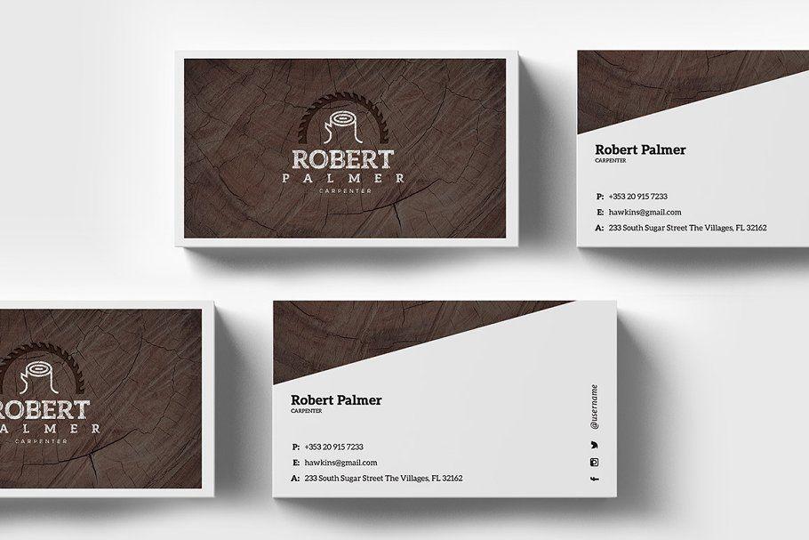 Carpenter Business Card Template Business Card Template Card Template Business Cards Creative