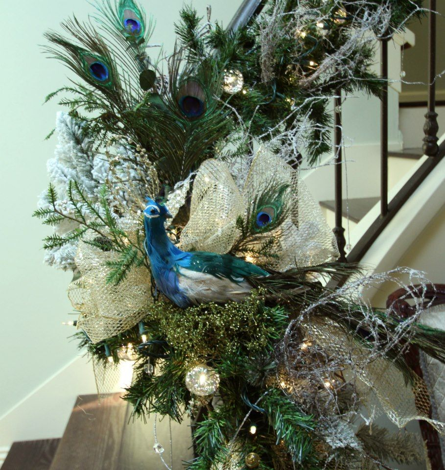100 Awesome Christmas Stairs Decoration Ideas: Peacock Christmas Decor By Robeson Design ... Idea For