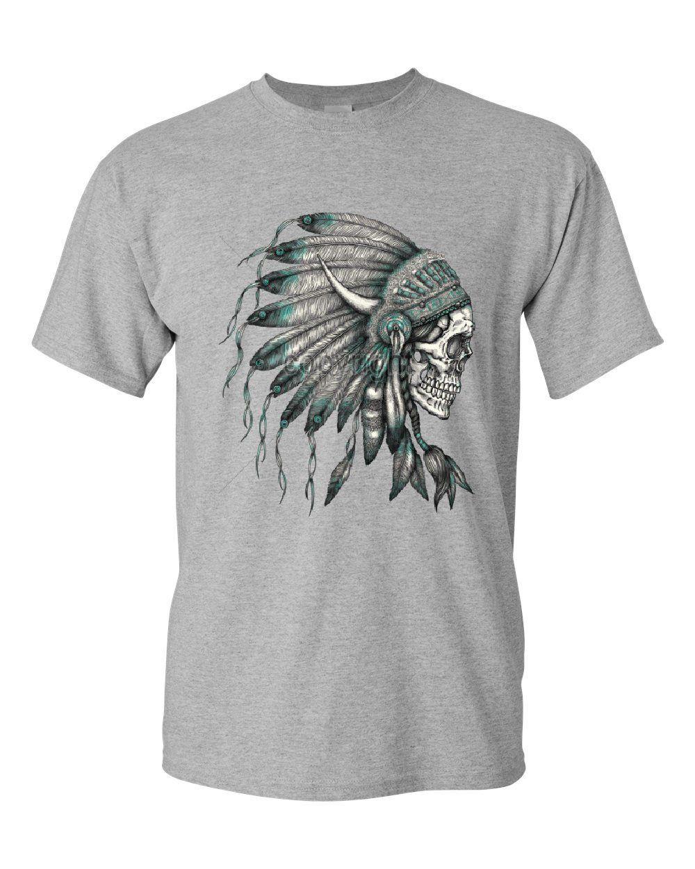 Indian Headdress Skull V-Neck T-Shirt Native American Tribe Tee