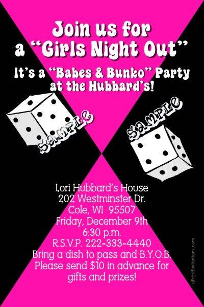Bunko Invitations Bunco Invitations Bunko Babes Invitations Any