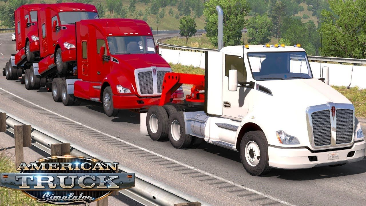 American Truck Simulator 1 35 Hauling 3 Decked Piggy Backed Kenworth S American Truck Simulator Kenworth Freightliner Cascadia