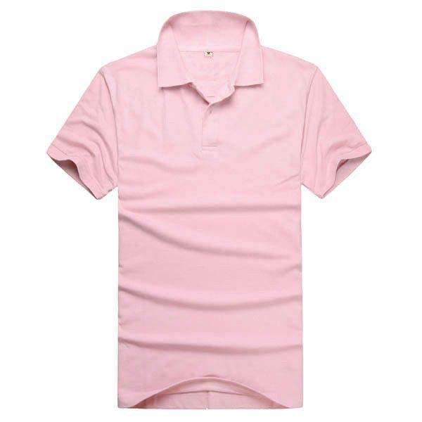 Solid Color Retro Men Boy Lapel Tops Short Sleeve Tee T-shirt Popo Shirt M-3XL