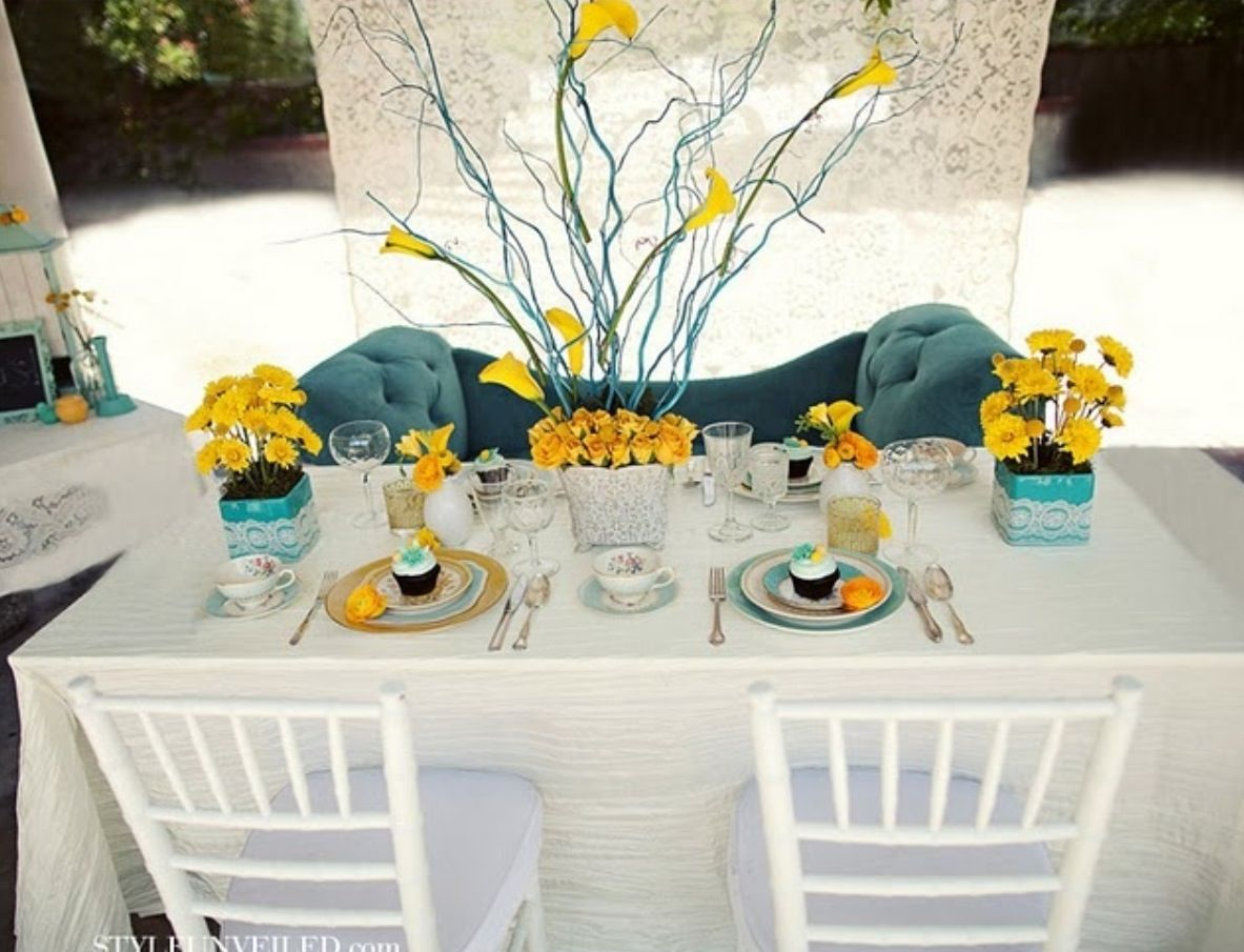 Blosooms and Arrangement | Turqouize and Yellow Wedding Concept ...
