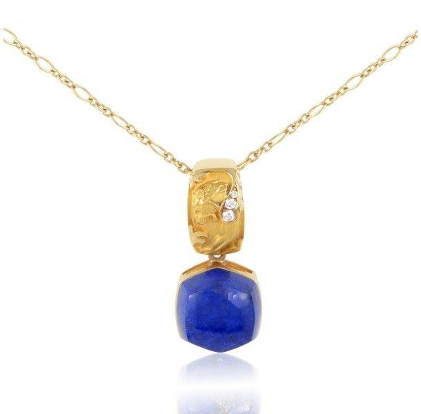 Magerit Babylon Caramelo 18k Yellow Gold Diamond Lapis Lazuli Pendant Necklace Gold Chain With Pendant Pendant Necklace Lapis Lazuli Pendant