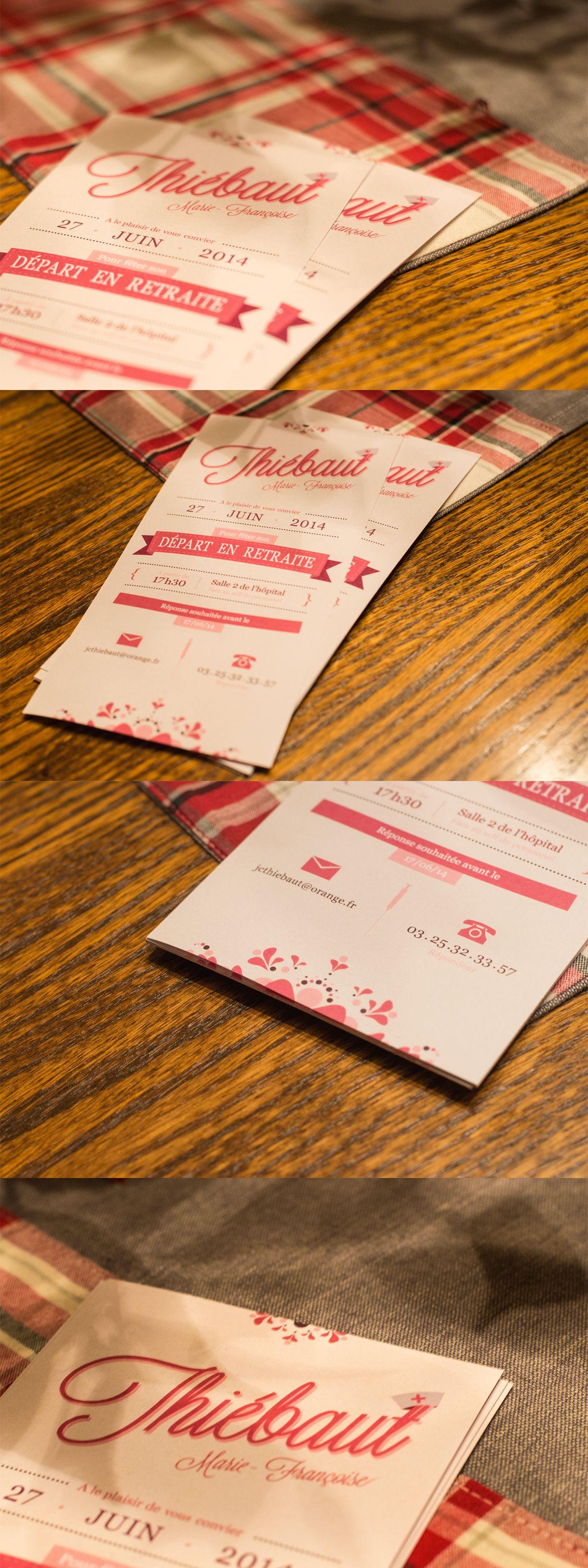 Creation De Cartons D Invitation Pour Un Pot De Depart En Retraite Travail Sur La Typographie Les Couleurs Ainsi Carte Invitation Carte De Visite Invitation