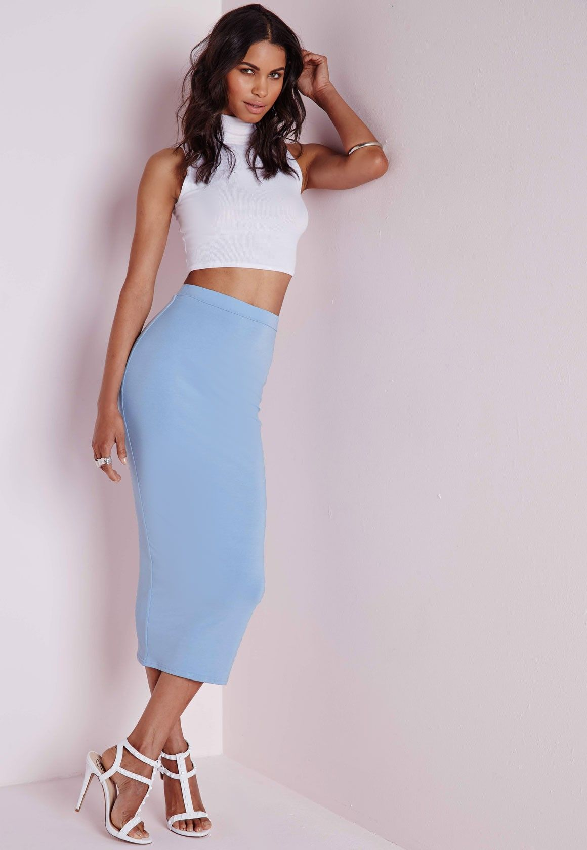 Missguided - Longline Jersey Midi Skirt Baby Blue | Fancy/formal ...