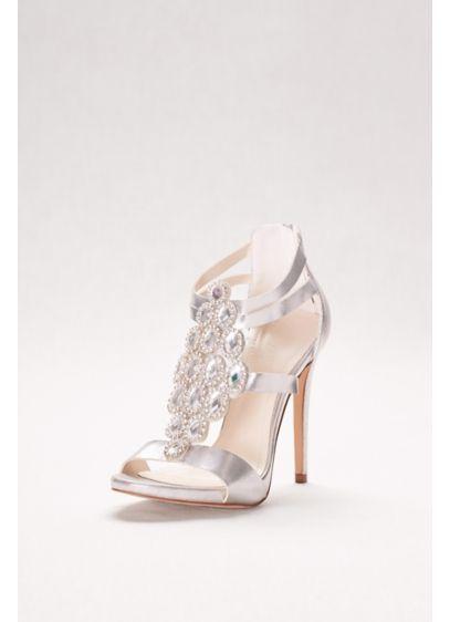 ceae66f2f9f David s Bridal Grey (Crystal-Embellished Strappy Heels)
