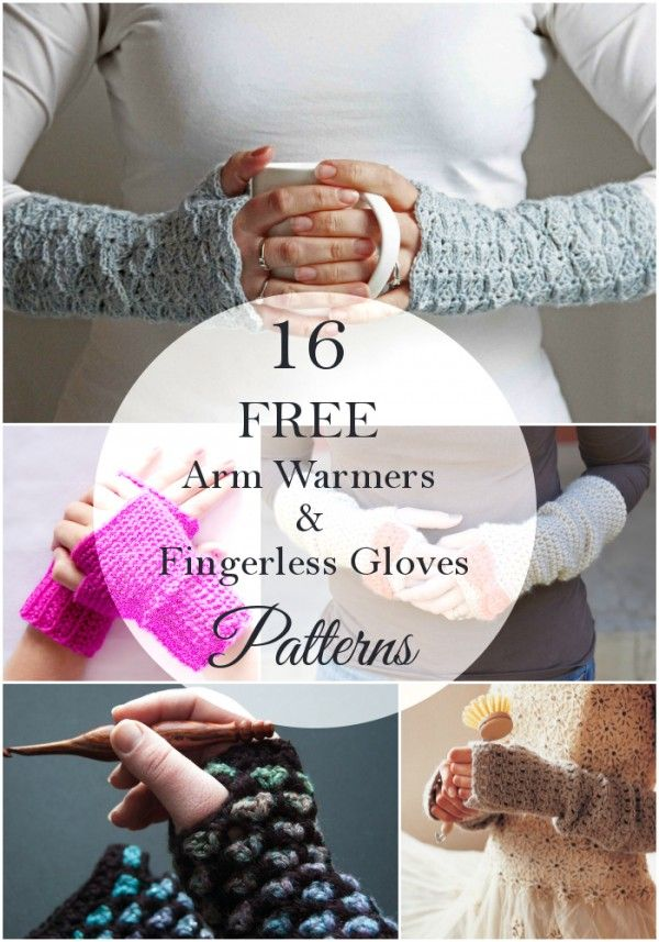 16 Pretty Crochet Arm Warmers and Fingerless Gloves | Guantes ...