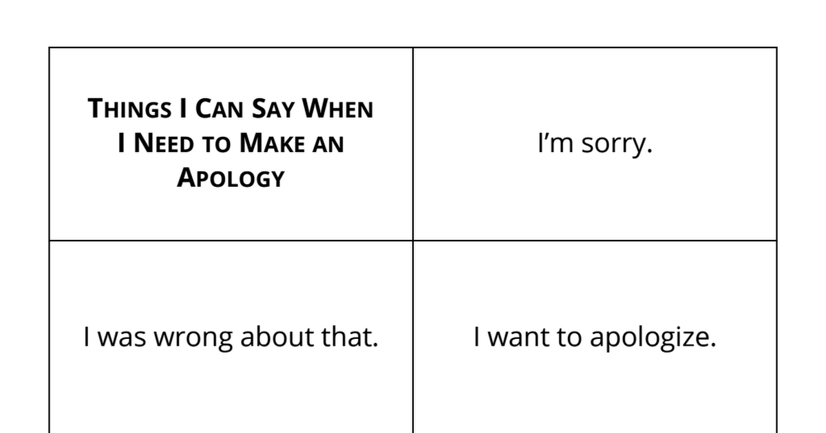Saying the wrong things for sorry I'm Sorry