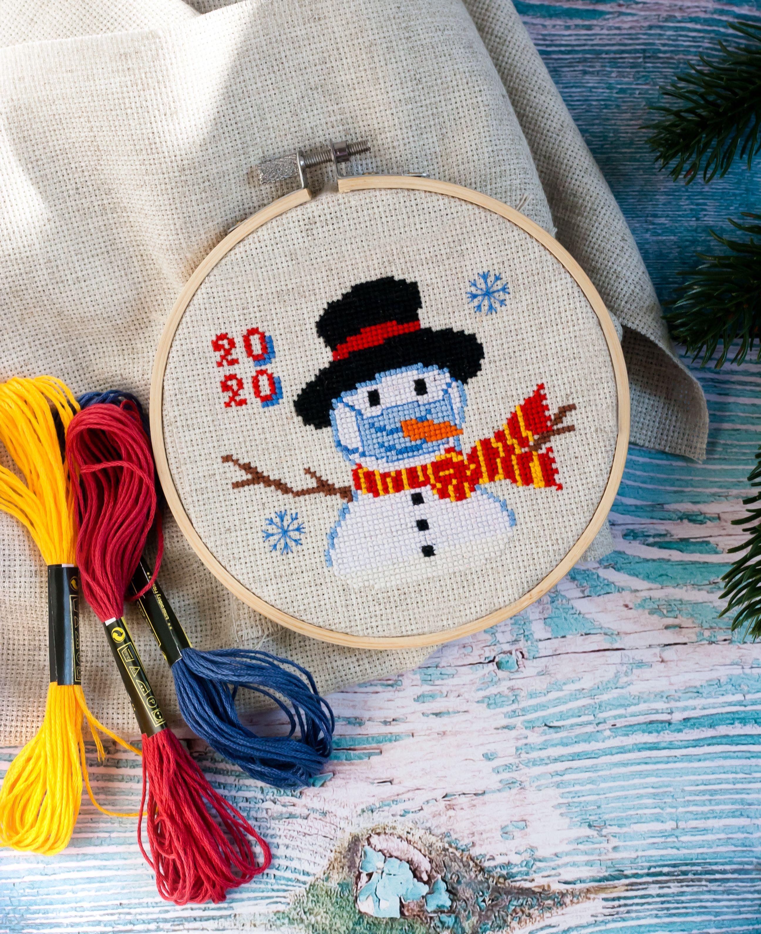 Covid Christmas 2020, Snowman mask cross stitch PDF pattern, Quarantine, Coronavirus pandemic gift