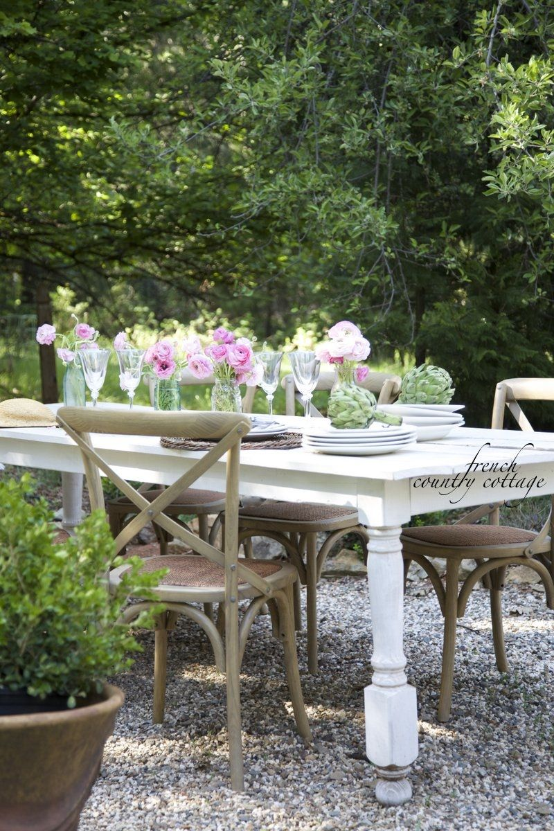 French Country Cottage Dining Outdoors On The Patio
