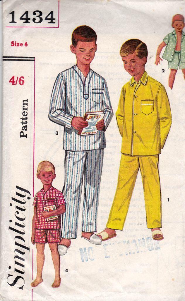 Simplicity 1434 Retro 50s Boys Pajamas Vintage Sewing Pattern Size 6 ...