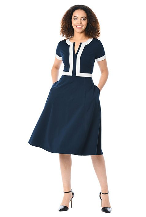 02b833132ac9 Contrast trim cotton knit dress   Pinterest