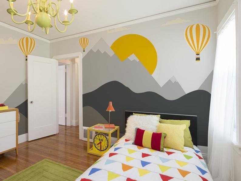 Gray Mountains Wallpaper Removable Wallpaper Monogrammed Etsy In 2020 Kids Room Paint Kids Bedroom Walls Boys Room Mural