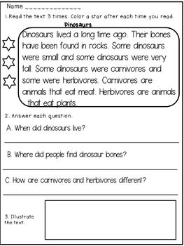 Reading Comprehension Passages 1st Grade / 2nd Grade | Reading ...