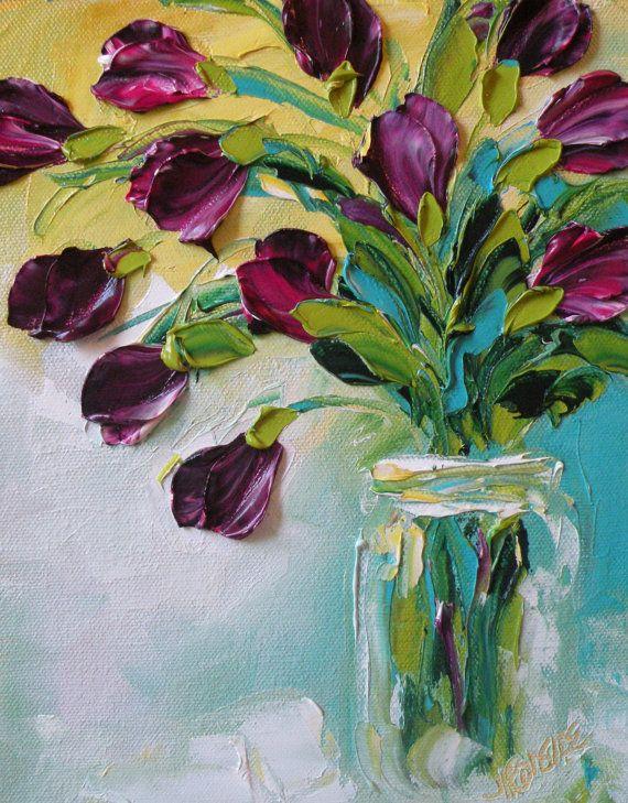 Original Oil Painting Purple Tulips Impasto Palette Knife Oil
