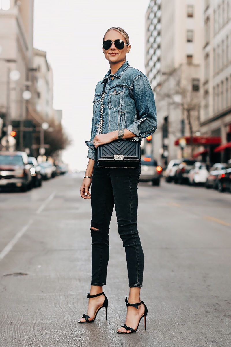18 Ways to Wear a Denim Jacket Skinny jeans style
