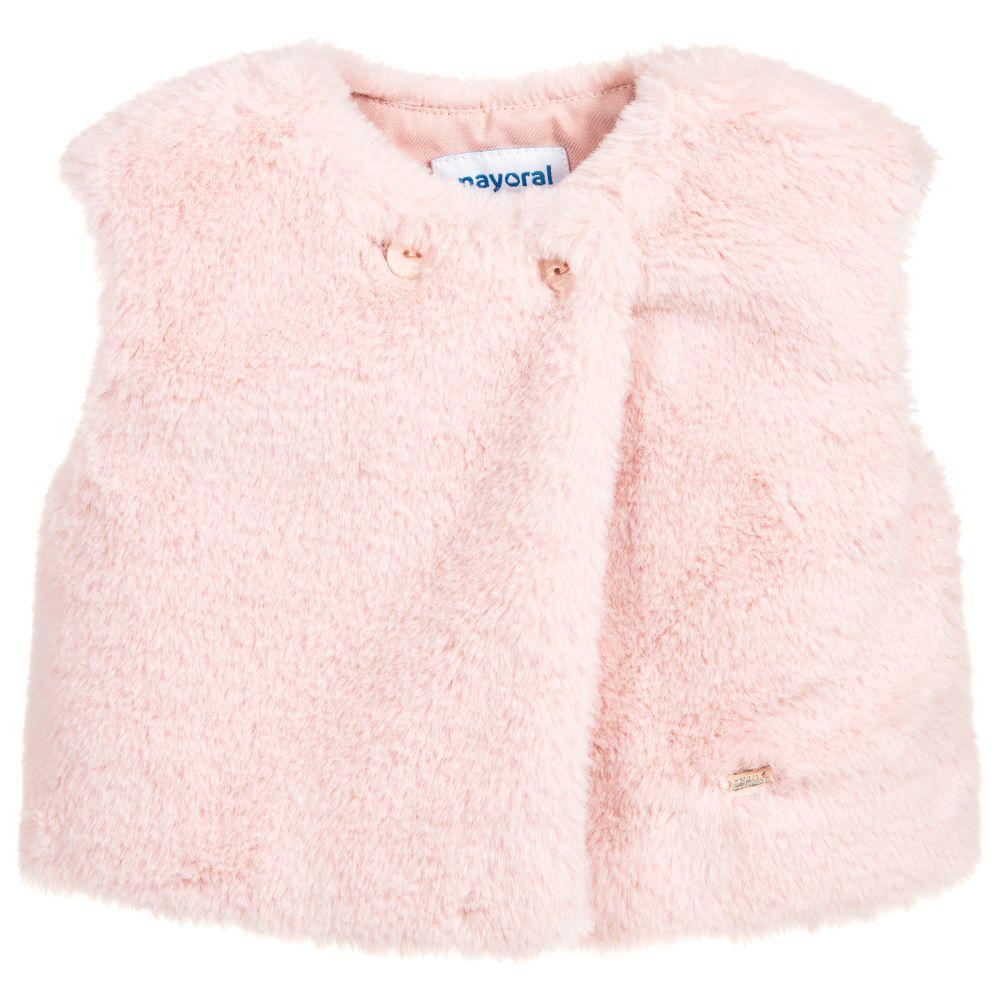 d3e1a31a8415 Pink Faux Fur Baby Gilet