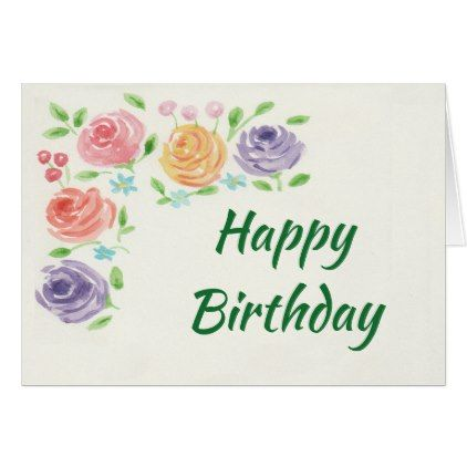 Watercolor Flowers Birthday Card Large Print