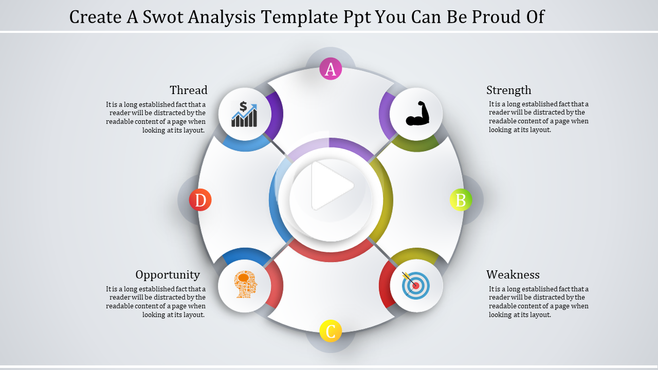 FreeFree spoked Swot Analysis Tempate PPT in 2020 Swot
