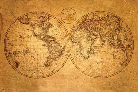 carte ancienne du monde Carte ancienne du monde Posters sur AllPosters.fr | Carte du monde