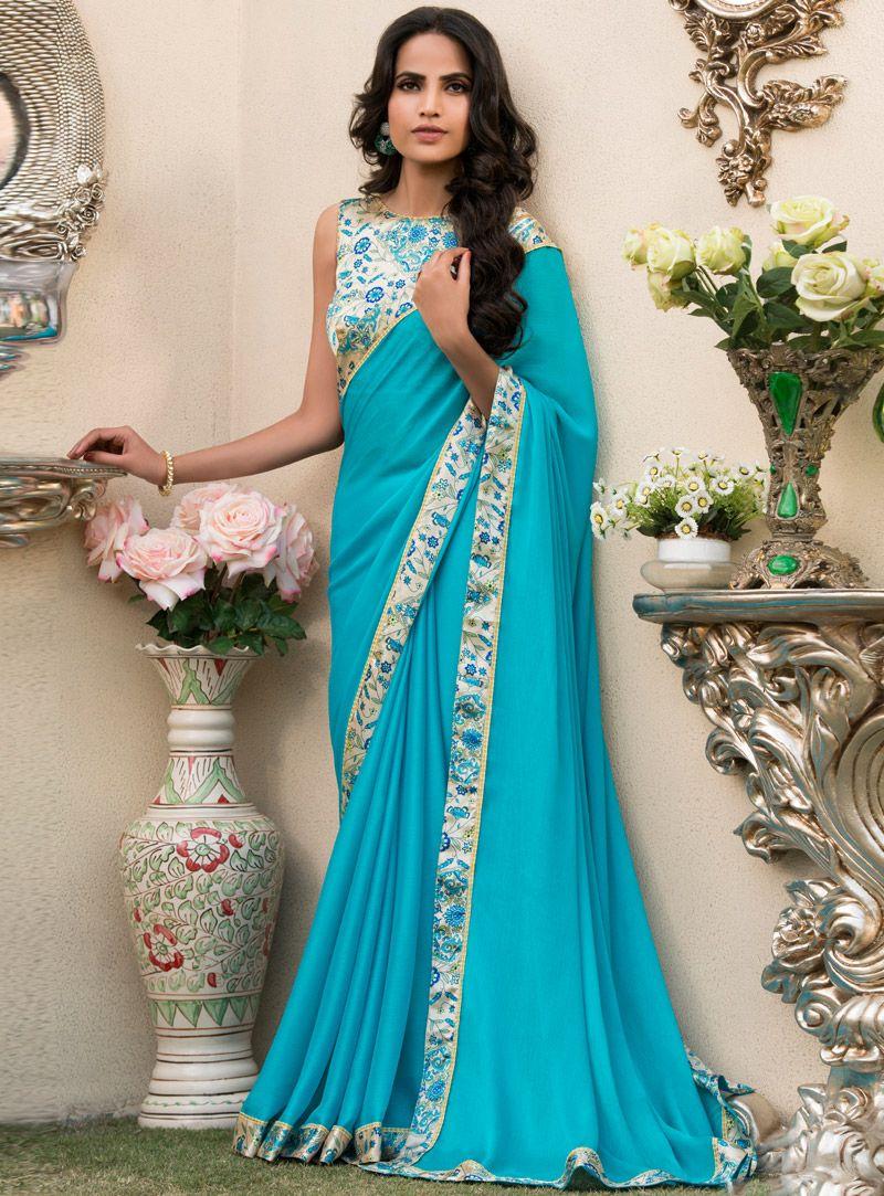 fd5ca7722270c0 Sky Blue Chiffon Patch Lace Work Saree 115149