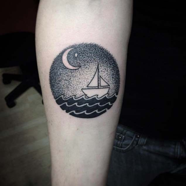 Tiny Dotwork Boat At Sea Tattoo & The Owl & The Pussycat