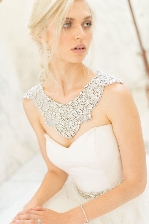 Bridal shoulder necklace wedding jewelry opal rhinestone trim back