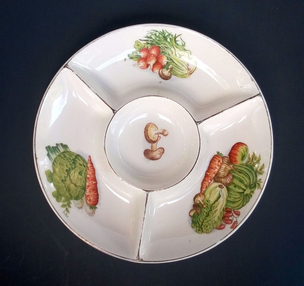 Rare Small Sized Divided Serving Dish Has Hand Painted Vegetable Designs In Each Compartment With Mushrooms In The Center B Vegetable Design Relish Dish Dishes