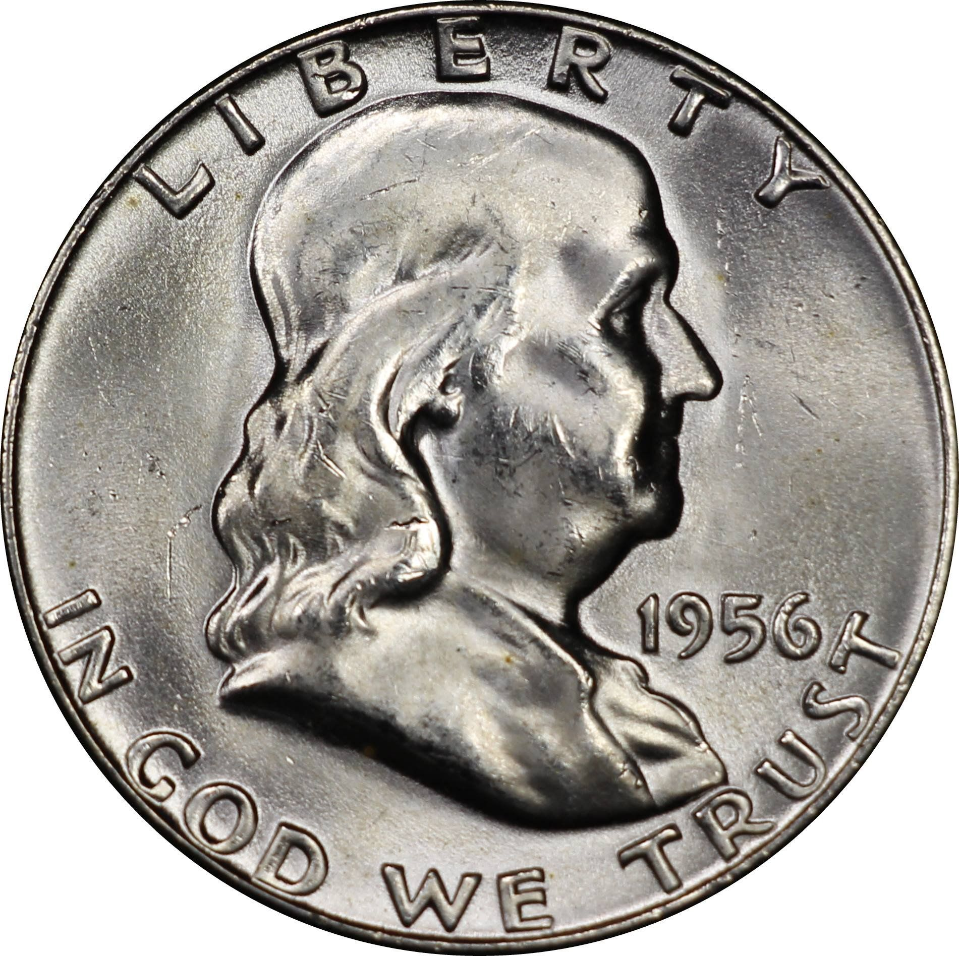 One 1 90 Silver United States Franklin Half Dollar From 1956 Mint State Condition With No Wear And Strong Luster 30 6mm Diam Silver Coins Coins Half Dollar