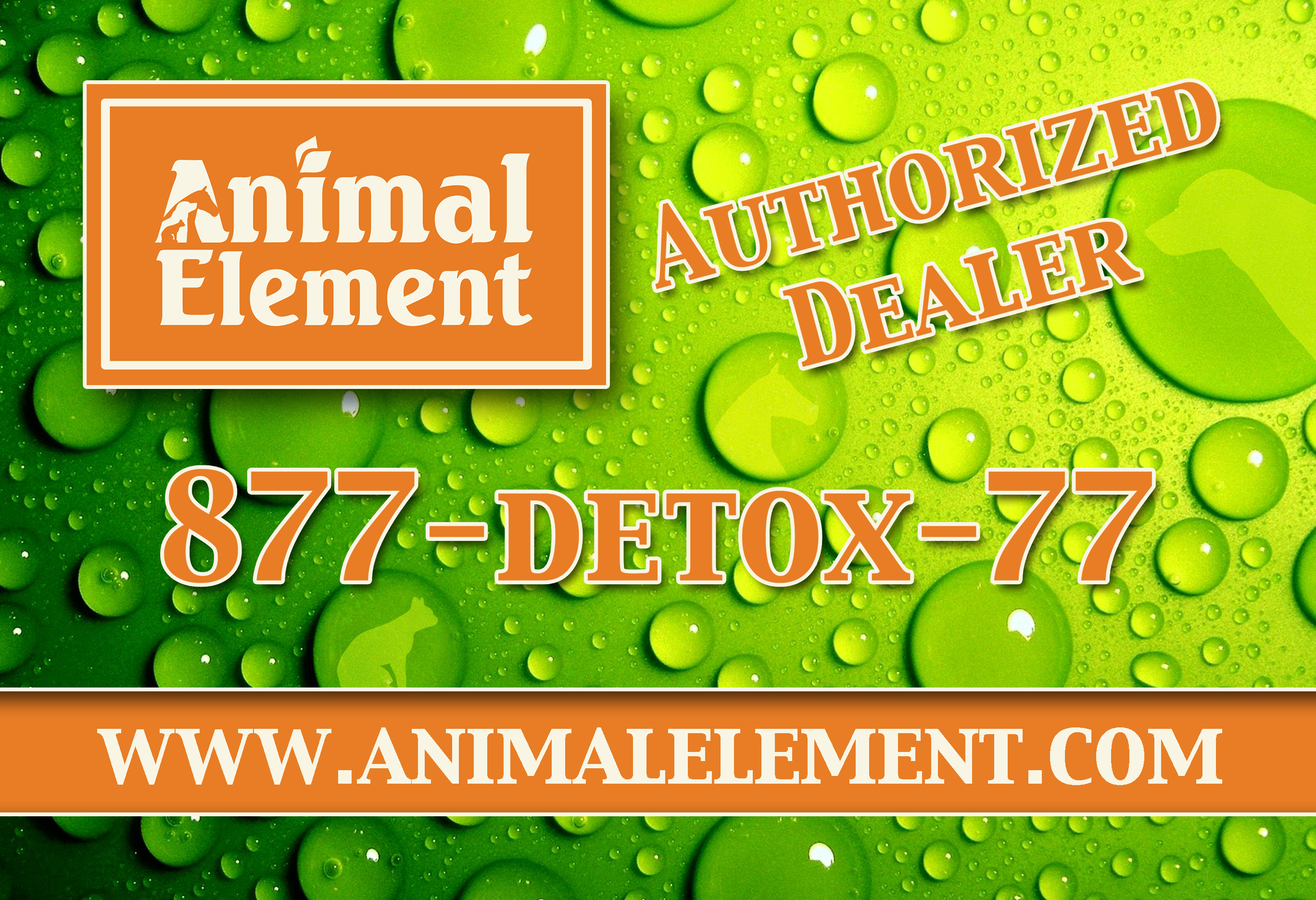 Animal Element Dealer banner. Place your name, phone number and coupon code for customer to see at events, shows, rodeos and barns.