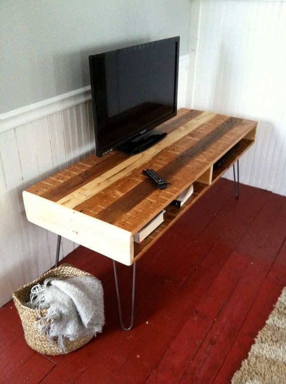 Mid Century Modern Media Console with Dual Sided Storage by ...