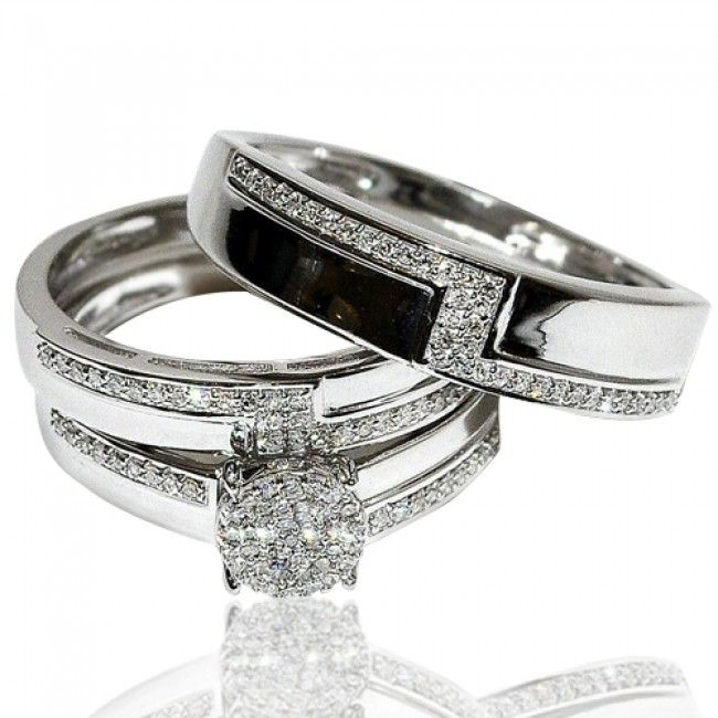Real Diamond Trio Wedding Set His And Her White Gold 3 Piece Set